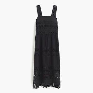 J.Crew Tiered Eyelet Midi Dress Black